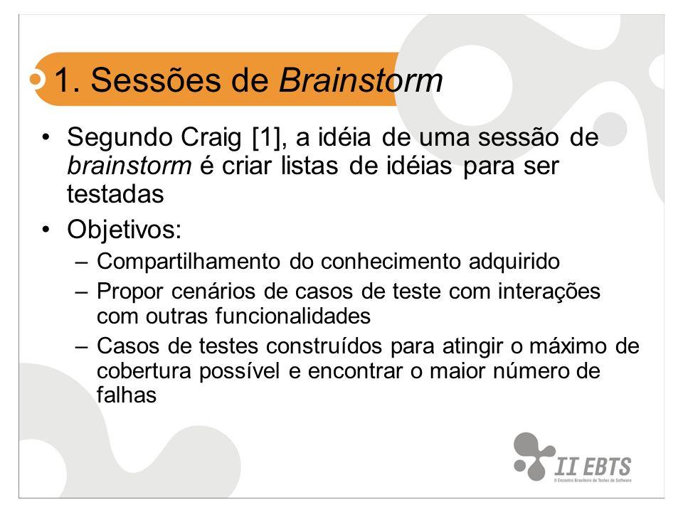 1. Sessões de Brainstorm Segundo Craig [1], a idéia de uma sessão de brainstorm é criar listas de idéias para ser testadas.